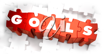 Goals - Text on Red Puzzles with White Background. 3D Render.