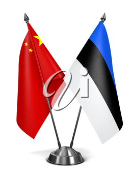 China and Estonia - Miniature Flags Isolated on White Background.