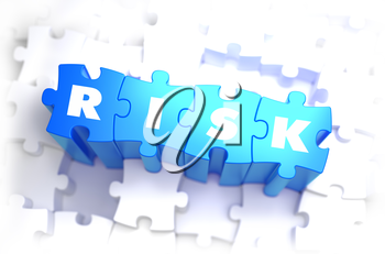 Risk - White Text on Blue Puzzles and Selective Focus. 3D Render.