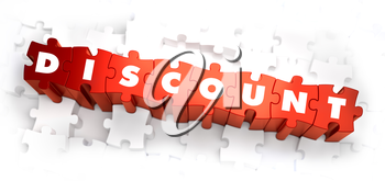 Discount - White Word on Red Puzzles on White Background. 3D Illustration.