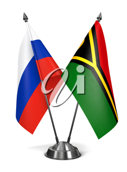 Russia and Vanuatu - Miniature Flags Isolated on White Background.