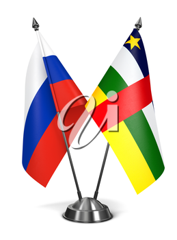 Russia and Central African Republic - Miniature Flags Isolated on White Background.