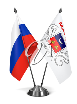 Russia and Mayotte - Miniature Flags Isolated on White Background.