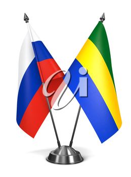 Russia and Gabon - Miniature Flags Isolated on White Background.