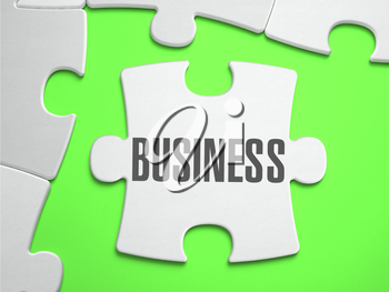 Business - Jigsaw Puzzle with Missing Pieces. Bright Green Background. Close-up. 3d Illustration.