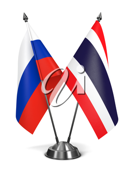 Russia and Thailand - Miniature Flags Isolated on White Background.