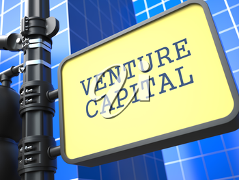 Venture Capital on Yellow Roadsign on Blue Urban.