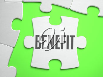 Benefit - Jigsaw Puzzle with Missing Pieces. Bright Green Background. Close-up. 3d Illustration.
