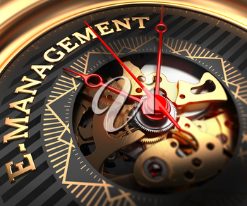 E-Management on Black-Golden Watch Face with Watch Mechanism. Full Frame Closeup.