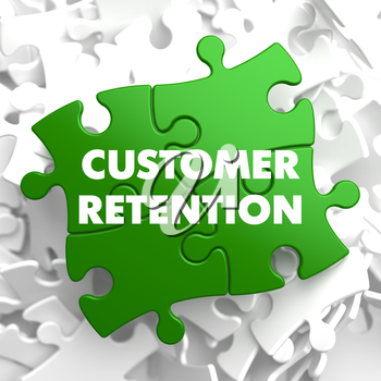 Customer Retention on Green Puzzle on White Background.