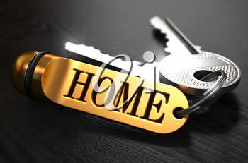 Keys with Word 'Home' on Golden Label over Black Wooden Background. Closeup View, Selective Focus, 3D Render.