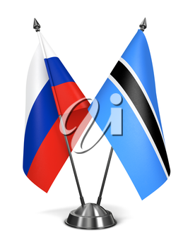Russia and Botswana - Miniature Flags Isolated on White Background.
