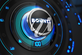 Bounty Controller on Black Control Console with Blue Backlight. Improvement, Regulation, Control or Management Concept.