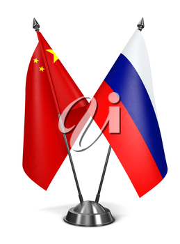 China and Russia - Miniature Flags Isolated on White Background.