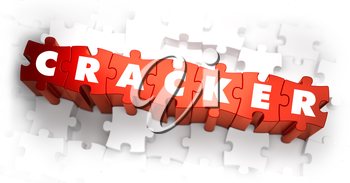 Cracker - White Word on Red Puzzles on White Background. 3D Illustration.