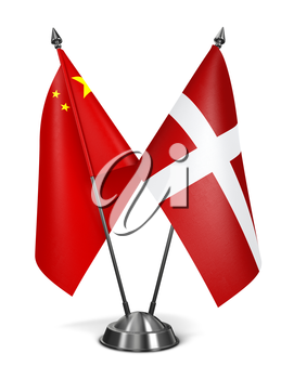 China and Sovereign Military Order Malta - Miniature Flags Isolated on White Background.