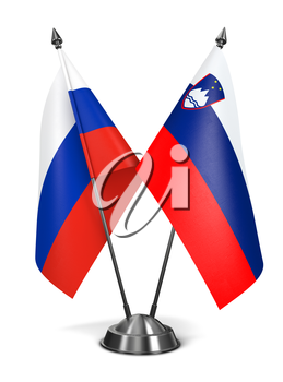 Russia and Slovenia - Miniature Flags Isolated on White Background.