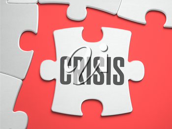 Crisis - Text on Puzzle on the Place of Missing Pieces. Scarlett Background. Close-up. 3d Illustration.