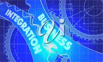 Business Integration on Blueprint of Cogs. Technical Drawing Style. 3d illustration with Glow Effect.