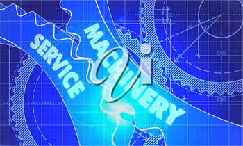 Machinery Service on the Mechanism of Gears. Blueprint Style. Technical Design. 3d illustration, Lens Flare.