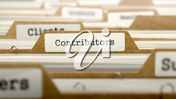 Contributors Concept. Word on Folder Register of Card Index. Selective Focus.
