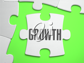 Growth - Jigsaw Puzzle with Missing Pieces. Bright Green Background. Close-up. 3d Illustration.