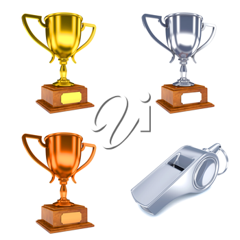 Competition Concepts - Set of 3D Trophy Cups and Whistle.
