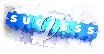 Success - White Word on Blue Puzzles on White Background. 3D Render.