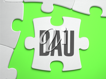 DAU - Daily Active Users - Jigsaw Puzzle with Missing Pieces. Bright Green Background. Close-up. 3d Illustration.