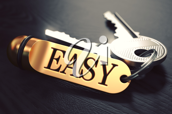 Easy Concept. Keys with Golden Keyring on Black Wooden Table. Closeup View, Selective Focus, 3D Render. Toned Image.