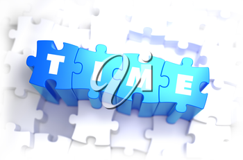 Time - White Word on Blue Puzzles on White Background. 3D Illustration.
