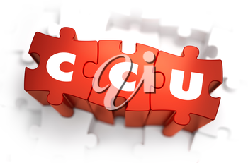 Word - CCU - Concurrent Users - on Red Puzzle on White Background. Selective Focus.