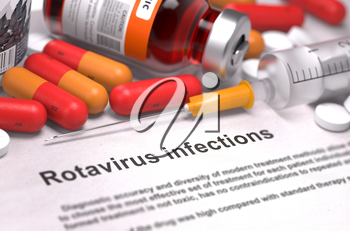 Diagnosis - Rotavirus Infections. Medical Report with Composition of Medicaments - Red Pills, Injections and Syringe. Selective Focus.