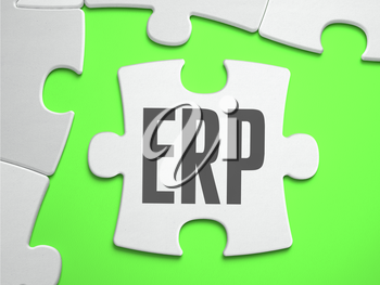 ERP - Enterprise Resource Planning - Jigsaw Puzzle with Missing Pieces. Bright Green Background. Close-up. 3d Illustration.
