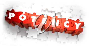 Potency - White Word on Red Puzzles on White Background. 3D Render.