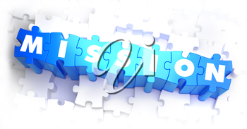 Mission - Text on Blue Puzzles on White Background. 3D Render.
