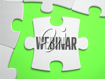 Webinar  - Jigsaw Puzzle with Missing Pieces. Bright Green Background. Close-up. 3d Illustration.