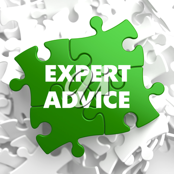 Expert Advice on Green Puzzle on White Background.