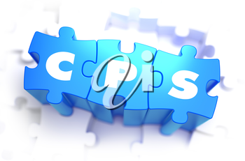CPS - White Word on Blue Puzzles on White Background. 3D Render.