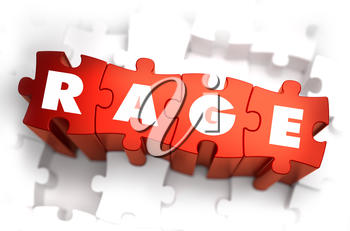 Rage - White Word on Red Puzzles on White Background. 3D Render.