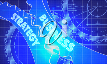 Business Strategy on the Mechanism of Gears. Blueprint Style. Technical Design. 3d illustration, Lens Flare.