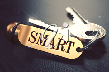 Smart - Bunch of Keys with Text on Golden Keychain. Black Wooden Background. Closeup View with Selective Focus. 3D Illustration. Toned Image.