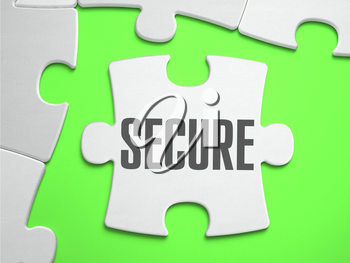 Secure - Jigsaw Puzzle with Missing Pieces. Bright Green Background. Close-up. 3d Illustration.