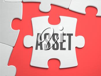 Asset - Text on Puzzle on the Place of Missing Pieces. Scarlett Background. Close-up. 3d Illustration.