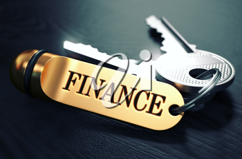 Keys and Golden Keyring with the Word Finance over Black Wooden Table with Blur Effect. Toned Image.