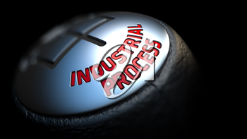 Industrial Process. Gear Shift with Red Text on Black Background. Selective Focus. 3D Render.