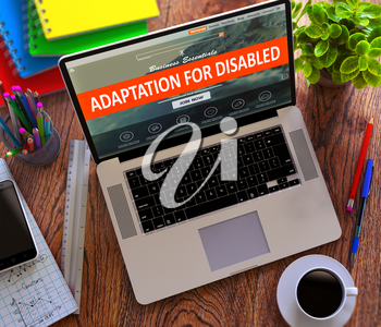Adaptation for Disabled on Laptop Screen. Office Working Concept.