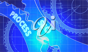 Seo Process Concept. Blueprint Background with Gears. Industrial Design. 3d illustration, Lens Flare.