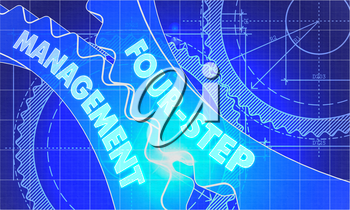 Four-Step Management Concept. Blueprint Background with Gears. Industrial Design. 3d illustration, Lens Flare.