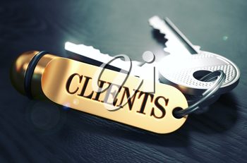Keys to Clients - Concept on Golden Keychain over Black Wooden Background. Closeup View, Selective Focus, 3D Render. Toned Image.